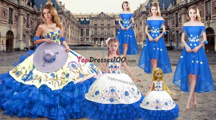 Royal Blue Sleeveless Floor Length Embroidery and Ruffled Layers Lace Up Quinceanera Gowns