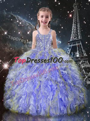 Superior Lavender Ball Gowns Beading and Ruffles Little Girls Pageant Dress Wholesale Lace Up Organza Sleeveless Floor Length