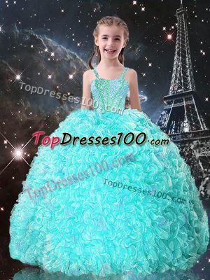 Attractive Turquoise Ball Gowns Straps Sleeveless Organza Floor Length Lace Up Beading and Ruffles Kids Pageant Dress