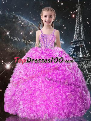 New Arrival Fuchsia Organza Lace Up Kids Formal Wear Sleeveless Floor Length Beading and Ruffles