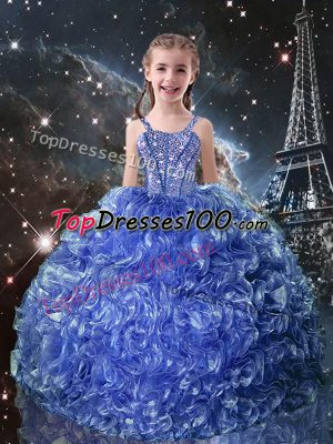 Customized Blue Organza Lace Up Kids Pageant Dress Sleeveless Floor Length Beading and Ruffles