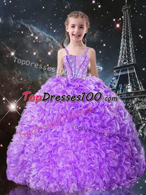 Superior Lilac Sleeveless Floor Length Beading and Ruffles Lace Up Kids Formal Wear