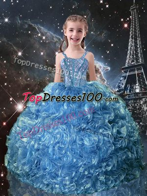 Ball Gowns Little Girls Pageant Dress Baby Blue Straps Organza Sleeveless Floor Length Lace Up