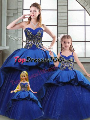 Sweetheart Sleeveless Taffeta Quinceanera Gown Beading and Appliques and Embroidery Court Train Lace Up