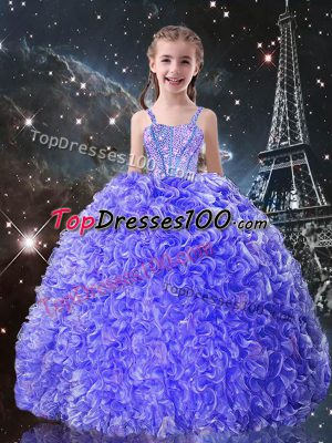 Sleeveless Organza Floor Length Lace Up Little Girl Pageant Dress in Blue with Beading and Ruffles