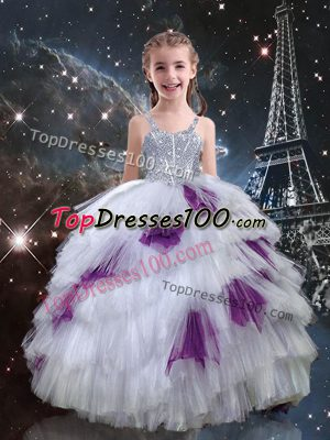 White Ball Gowns Straps Sleeveless Tulle Floor Length Lace Up Beading and Ruffled Layers Kids Pageant Dress