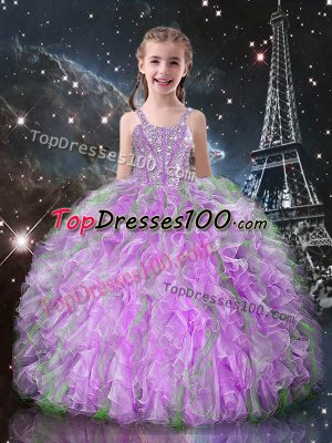 Cheap Lilac Sleeveless Beading and Ruffles Floor Length Kids Formal Wear