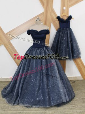 Superior Tulle Off The Shoulder Sleeveless Brush Train Lace Up Ruching Prom Gown in Navy Blue