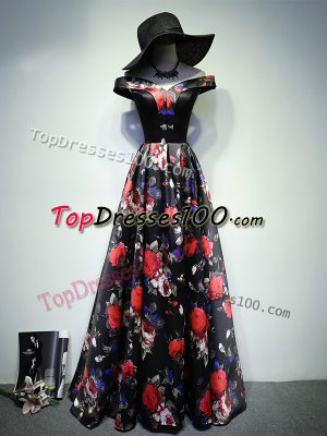 Enchanting Multi-color Lace Up Off The Shoulder Ruching Prom Party Dress Printed Sleeveless