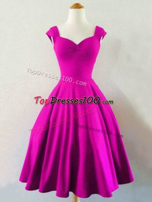 Fuchsia Quinceanera Court of Honor Dress Prom and Wedding Party with Ruching Straps Sleeveless Lace Up