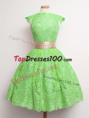 Fashion Cap Sleeves Lace Knee Length Lace Up Damas Dress in Green with Belt