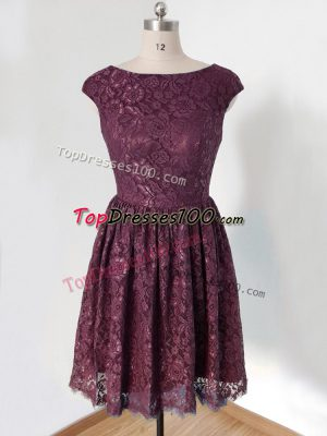 Dark Purple Scoop Lace Up Lace Dama Dress for Quinceanera Cap Sleeves