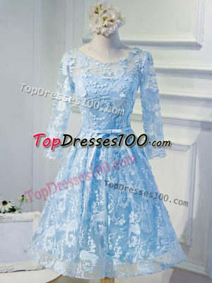 Light Blue Organza Lace Up Long Sleeves Mini Length Beading and Appliques