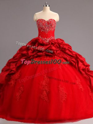 Fitting Sweetheart Sleeveless Sweet 16 Quinceanera Dress Court Train Beading and Appliques and Pick Ups Red Taffeta and Tulle