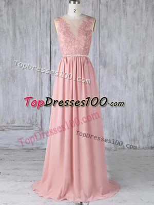 Cute Pink Sleeveless Chiffon Sweep Train Backless Quinceanera Court of Honor Dress for Prom and Party and Wedding Party