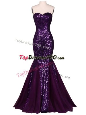 Customized Purple Sleeveless Chiffon and Tulle Lace Up Evening Dresses for Prom and Party and Military Ball and Sweet 16