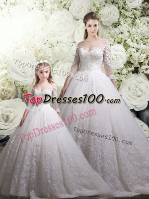 Eye-catching Chapel Train Ball Gowns Ball Gown Prom Dress White Off The Shoulder Tulle Half Sleeves Zipper