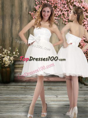 Hot Selling Knee Length Ball Gowns Sleeveless White Wedding Dress Backless