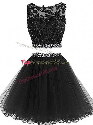 Black Tulle Zipper Scoop Sleeveless Mini Length Prom Gown Beading and Lace and Appliques