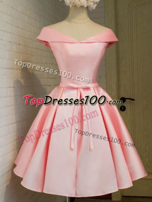 Baby Pink Taffeta Lace Up Off The Shoulder 3 4 Length Sleeve Knee Length Court Dresses for Sweet 16 Belt