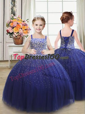 Excellent Royal Blue Tulle Lace Up Straps Sleeveless Floor Length Little Girls Pageant Dress Beading