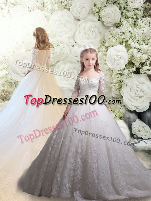 Dramatic Tulle 3 4 Length Sleeve Flower Girl Dress Chapel Train and Lace
