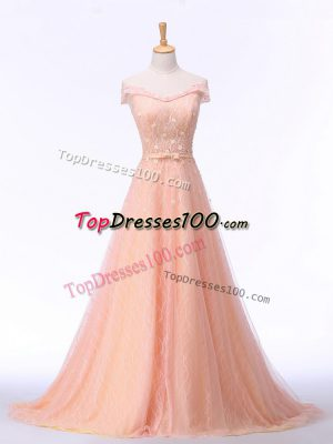 Peach Going Out Dresses Prom and Party and Military Ball and Sweet 16 with Beading and Lace and Belt Off The Shoulder Sleeveless Brush Train Lace Up