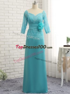 Clearance Baby Blue Chiffon Zipper Sweetheart 3 4 Length Sleeve Mother of the Bride Dress Lace and Appliques