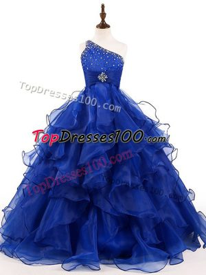 Stylish Floor Length Zipper Kids Pageant Dress Royal Blue for Wedding Party with Beading and Ruffles