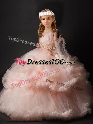 Dramatic Pink Ball Gowns Tulle V-neck Sleeveless Hand Made Flower Criss Cross Little Girls Pageant Dress Wholesale Brush Train
