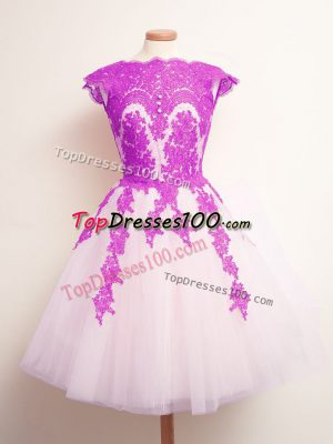 Fashion Appliques Dama Dress for Quinceanera Multi-color Lace Up Sleeveless Mini Length