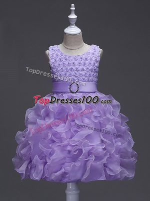Sleeveless Knee Length Ruffles and Belt Lace Up Kids Formal Wear with Lavender
