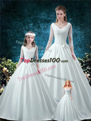 Romantic V-neck 3 4 Length Sleeve Chapel Train Lace Up Sweet 16 Dress White Satin