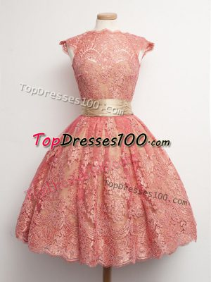 Watermelon Red Ball Gowns High-neck Cap Sleeves Lace Knee Length Lace Up Belt Dama Dress