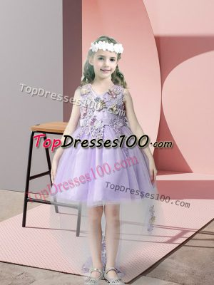 Cheap Sleeveless High Low Lace and Bowknot Zipper Flower Girl Dresses for Less with Lavender