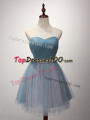 A-line Quinceanera Court of Honor Dress Light Blue Sweetheart Tulle Sleeveless Mini Length Lace Up