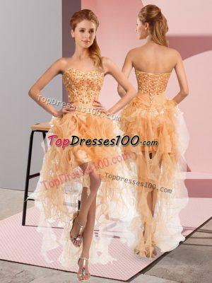 Pretty Gold Sleeveless Organza Lace Up Homecoming Dress for Prom and Party and Sweet 16