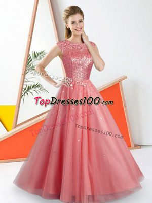 Pretty A-line Court Dresses for Sweet 16 Watermelon Red Bateau Tulle Sleeveless Floor Length Backless