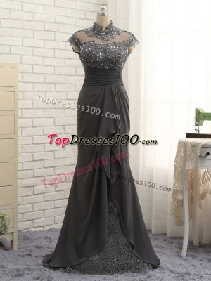 Black Cap Sleeves Floor Length Lace and Ruching Zipper Mother of the Bride Dress