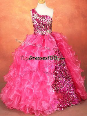 Hot Pink Ball Gowns One Shoulder Sleeveless Organza Floor Length Lace Up Beading and Ruffles and Sequins Party Dress