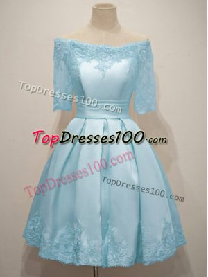 Light Blue Taffeta Lace Up Quinceanera Court of Honor Dress Half Sleeves Knee Length Lace