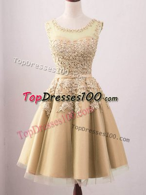 Gold Sleeveless Tulle Lace Up Court Dresses for Sweet 16 for Prom and Party and Wedding Party
