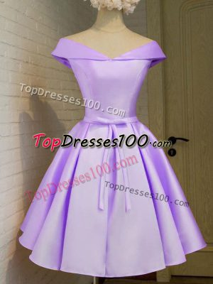Lovely Cap Sleeves Knee Length Belt Lace Up Damas Dress with Lavender