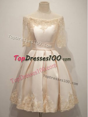 Captivating Champagne A-line Taffeta Off The Shoulder Half Sleeves Lace Knee Length Zipper Quinceanera Court Dresses