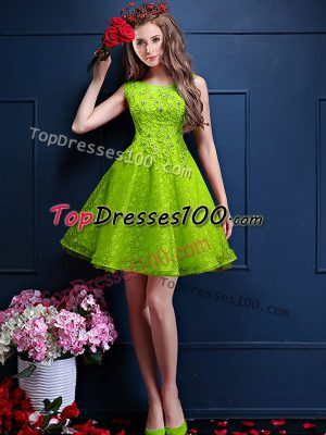 Clearance Tulle Sleeveless Knee Length Quinceanera Dama Dress and Beading and Lace
