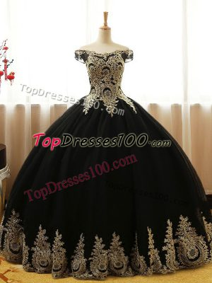 Free and Easy Black Ball Gowns Off The Shoulder Sleeveless Tulle Floor Length Lace Up Appliques Quinceanera Gown