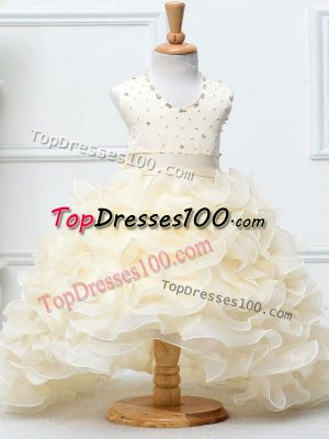 Charming Champagne Sleeveless Beading and Ruffles High Low Little Girls Pageant Dress