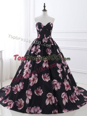 Delicate Multi-color Printed Lace Up Sweetheart Sleeveless Prom Gown Brush Train Ruching