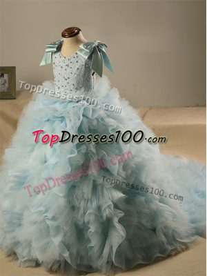 Enchanting Light Blue Sleeveless Tulle Brush Train Zipper Kids Formal Wear for Wedding Party