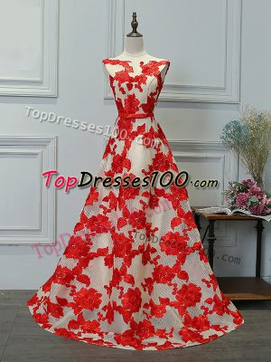 Glamorous Printed Bateau Sleeveless Lace Up Appliques Evening Dress in White And Red